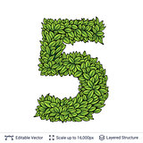 Number symbol of green leaves.