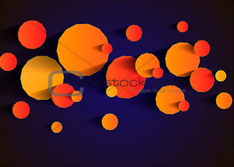 Abstract background with vector design elements. Yellow polyhedra on a blue background