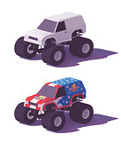 Vector low poly monster truck