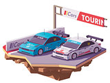 Vector low poly touring racing cars