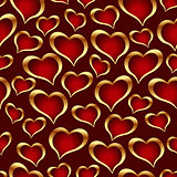 Golden hearts background.