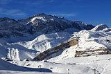 Ski resort at sunny evening