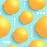 3d balls on blue background