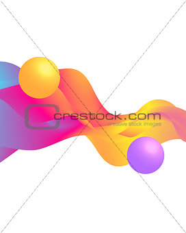 3 d balls and colorful waves