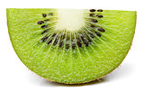 Ripe slice of kiwi fruit stand isolated on white