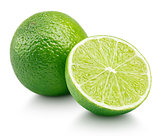 Citrus lime fruit with half isolated on white