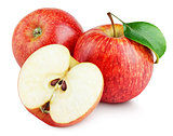 Ripe red apples with half and apple leaf isolated on white
