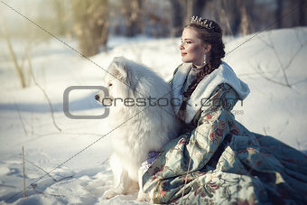 Fairy girl with a white dog