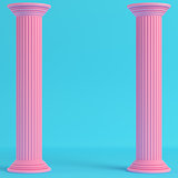 Two ancient pillars on bright blue background in pastel colors