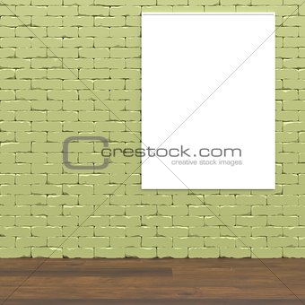 Green wall interior concept mock up 3D render