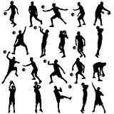 Black silhouettes set of men playing basketball on a white background