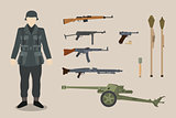 a german ww2 soldier gun equipment with bazooka machine gun pistols artillery vector graphic illustration