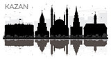 Kazan Russia City skyline black and white silhouette with Reflec