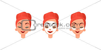 Beautiful women s faces. Girl with purifying mask and eye patches against circles under the eyes. Facial and eye care. Flat vector illustration