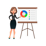 Funny cartoon woman manager presenting whiteboard about financial growth. Young businesswoman making presentation and showing diagrama on whiteboard.