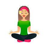 Cartoon young beautiful girl practicing yoga in a lotus pose. Flat vector women meditates and relaxes. Physical and spiritual therapy concept. Mind body spirit. Lady in lotus position
