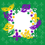 Mardi gras. Elegant green frame. Place for text.