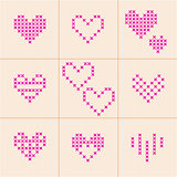 Valentine Day. Set of 9 hearts. Cross-stitch.