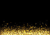 Gold glitter texture. Irregular confetti border on a black background. Christmas or party flyer design element. Vector illustration.
