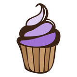 Lilac blueberry cream cupcake isolated