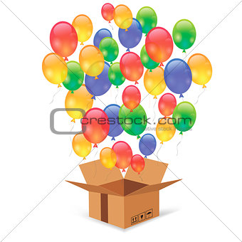 Cardbox and Colorful Balloons