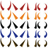Set of Different Colorful Horns