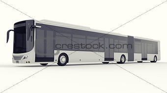 A large city bus with an additional elongated part for large passenger capacity during rush hour or transportation of people in densely populated areas. Model template for placing your images and inscriptions. 3d rendering.