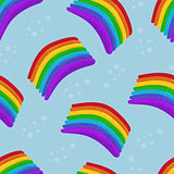 Vector illustration. Rainbows pattern on blue sky for seamless background.