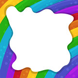 Abstract background with cartoon Rainbows and cloud frame. Vector illustration.