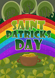Saint Patricks Day Card Design - Treasure of Leprechaun on rainbow Background