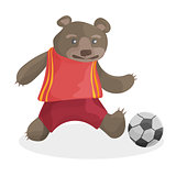 cute cartoon bear playing football