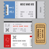 Templates of modern tickets for cinema or concert entrance