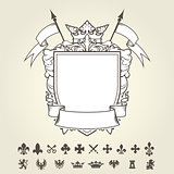 Blank template of coat of arms with shield and set of heraldic s