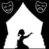 Silhouette girl plays the stage. World theatre day.