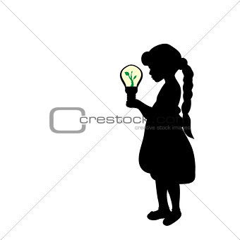 Silhouette girl holds lamp  sprout