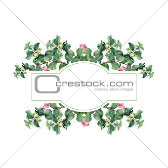 Watercolor Christmas floral banner. Hand painted floral garland with snowberry isolated on white background