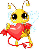 Cute Bee Holding Devil Heart