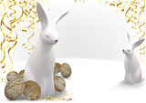 Easter Greeting Card with Golden Easter Eggs