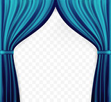 Naturalistic image of Curtain, open curtains Blue color on transparent background. Vector Illustration.