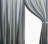 Naturalistic image of Curtain, open curtains Gray color on transparent background. Vector Illustration.