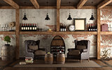 Home wine cellar in retro style