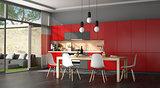 Black and red modern kitchen