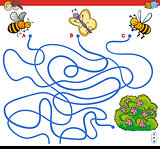 paths maze game with insects and flowers