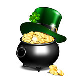 Leprechaun hat and pot of gold
