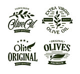 Olive oil premium quality. Olives branch vintage label collection. Extra virgin emblem set. Healthy products retro green vector logo template. Organic cosmetics. Eco food. Natural element.