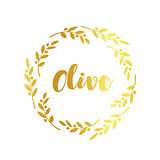 Olive label, golden ornamental border, vector illustration on white background.