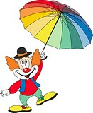 Cartoon funny clown holding an umbrella
