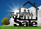House Symbol For Sale with a Family
