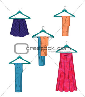 Clothes on hangers. Women clothes in flat style vector illustration.