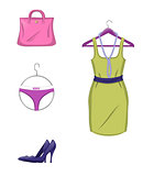 Elegant set of female clothes and accessories in red color. Isolated on white background. Vector illustration.